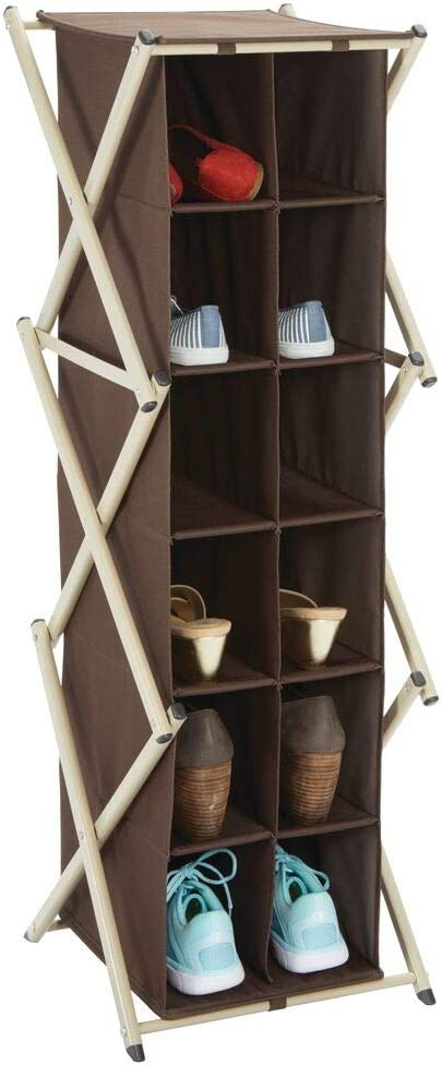mDesign Tall Soft Fabric Shoe Rack Holder & Organizer - 12 Cube Storage Shelf for Closet, Entryway, Mudroom, Garage, Kids Playroom - Metal Frame, Easy Assembly - Closet Organization - Dark Brown/Taupe