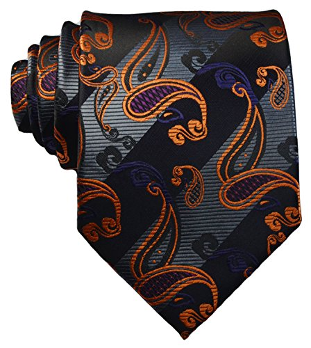 New Classic Striped Paisley Black Grey Gold JACQUARD WOVEN Silk Men's Tie Necktie