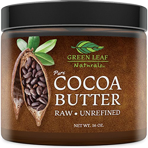 Cocoa Butter - Raw Unrefined Organic - 100% Pure for Hair and Skin - All Natural for DIY Recipes (16 ()