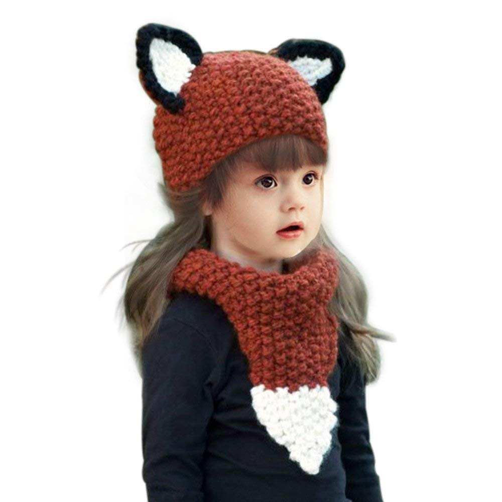 Jhua Baby Kids Warm Winter Beanies Knitted Caps Hooded Fox Ear Hat Scarves Orange Red, Small by Jhua