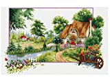 landscape design pictures TINMI ATRS DIY Stamped Cross Stitch Landscape Kits Thread Needlework Embroidery Printed Pattern 11CT Home Decoration Four Seasons (Summer Perfume, 27x19 inch)
