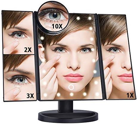 22 LEDライト1X / 2X / 3X / 10倍拡大鏡バニティツェッペリン化粧鏡二つの電源モードでアップミラーを作ります (Color : Black)