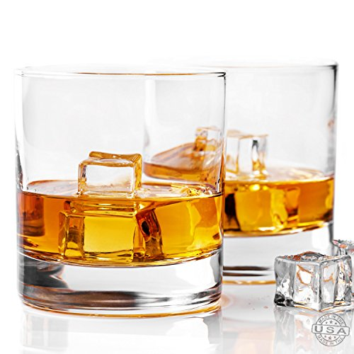 Taylor'd Milestones Whiskey Glass, Premium 10 oz Scotch Glasses, Set of 2 Rocks Style Glassware for Bourbon and Old Fashioned Cocktails (Tumbler Cocktail Glass)