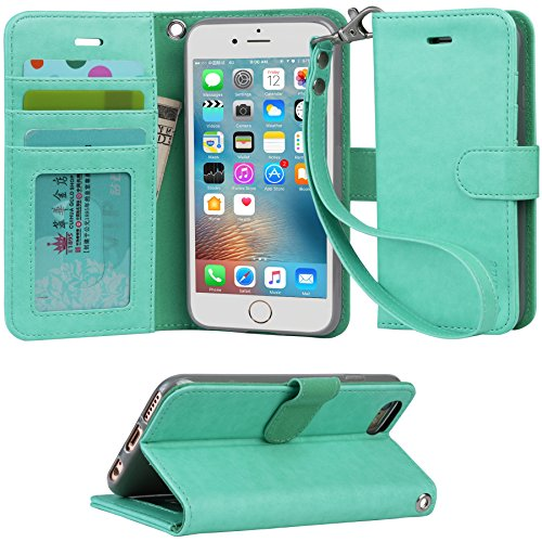 Iphone 6s Case, iphone 6 case, Arae Apple Iphone 6 / 6s [Wrist Strap] Flip Folio [Kickstand Feature] PU leather wallet case with ID&Credit Card Pockets (Green)