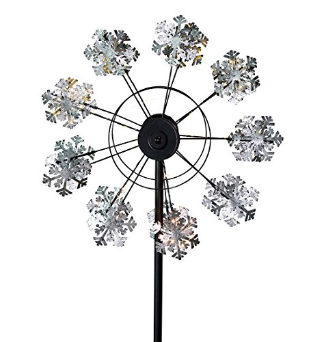 - Wind & Weather KA6973 Snowflake Solar Wind Spinner, Silver