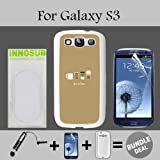 Coffee Cups Flat Minimal Custom Galaxy S3 Cases-White-Plastic,Bundle 3in1 Comes with Screen Protector/Universal Stylus Pen by innosub