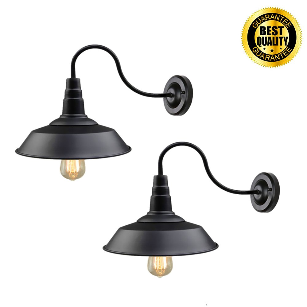 Black Wall Sconce Lighting Wall Lamp Gooseneck Barn Lights Industrial Vintage Farmhouse Wall Lamp E26 Indoor Wall Porch Light Set of 2 by Eleven Master