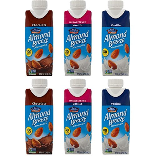 Almond Breeze Almondmilk 3 Flavor Sampler Bundle, (2) Each: Vanilla, Chocolate, Unsweetened Vanilla, 8 fl oz