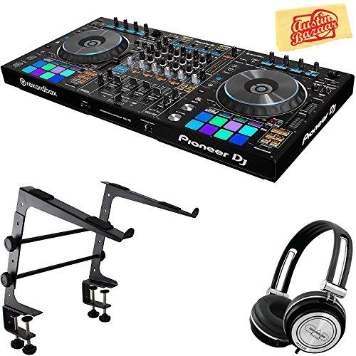 (Pioneer DDJ-RZ Flagship 4-Channel Controller for Rekordbox DJ Bundle with Stand, Headphones, and Austin Bazaar Polishing Cloth)