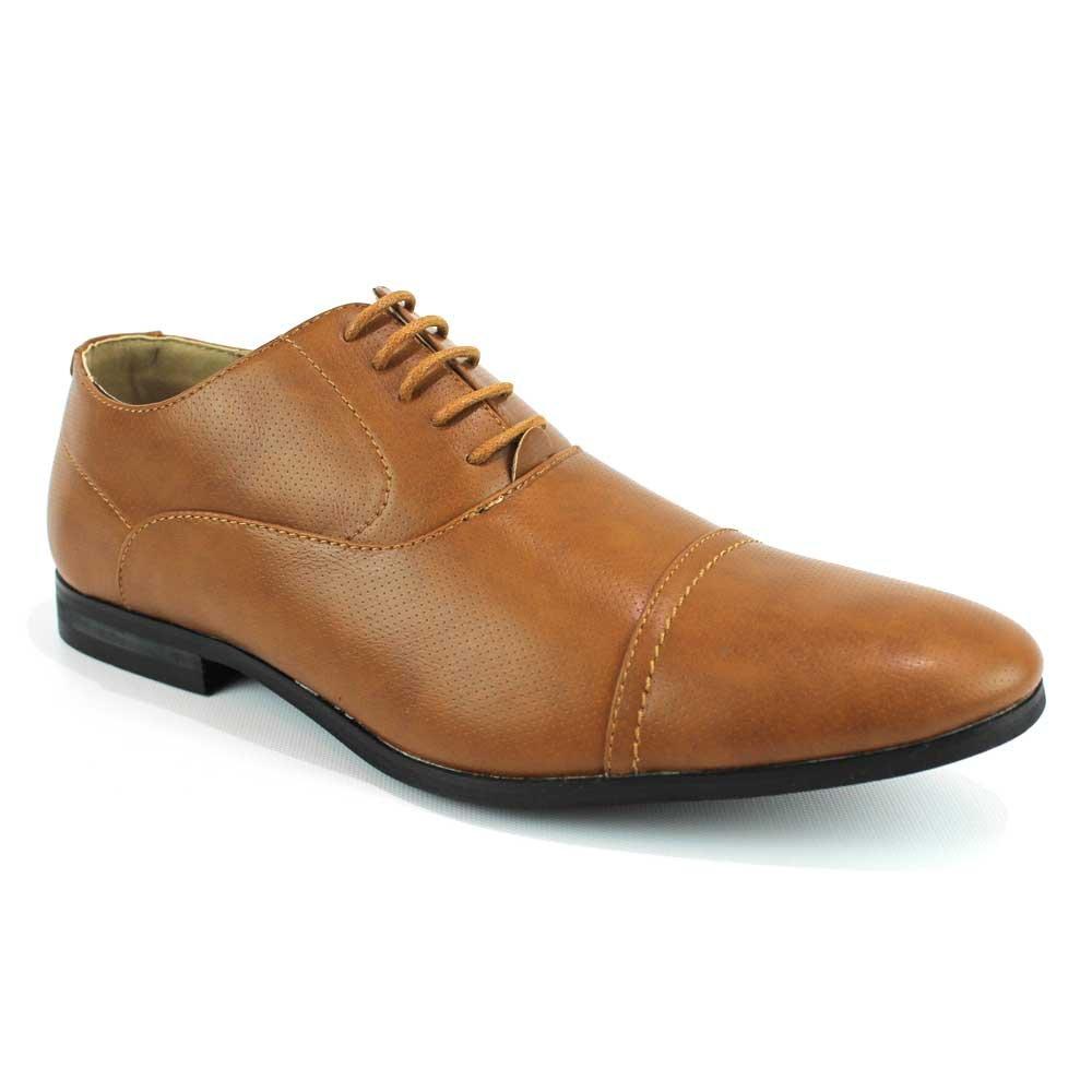 AZAR MAN New Men's Cap Toe Dress Shoes Modern Lace up Oxfords by Azar (11 U.S (D) Medium, Dotted Cognac)