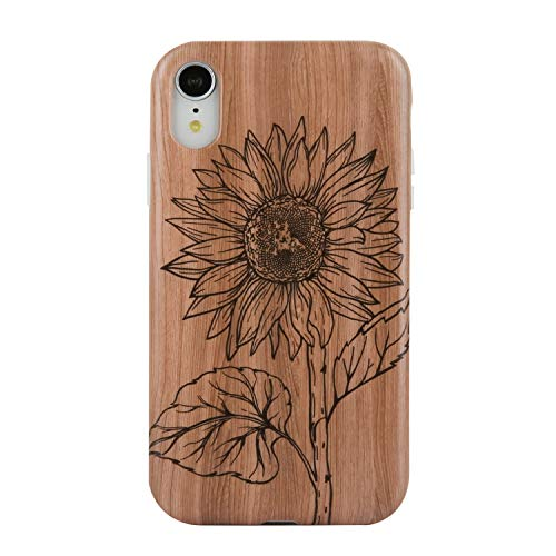 iPhone Xr Case, Cute Wood Sunflowers for Girls Women Men Slim-Fit Glossy TPU Clear Bumper Flexible Soft Rubber Silicone Protective Phone Case Cover for iPhone XR 6.1''