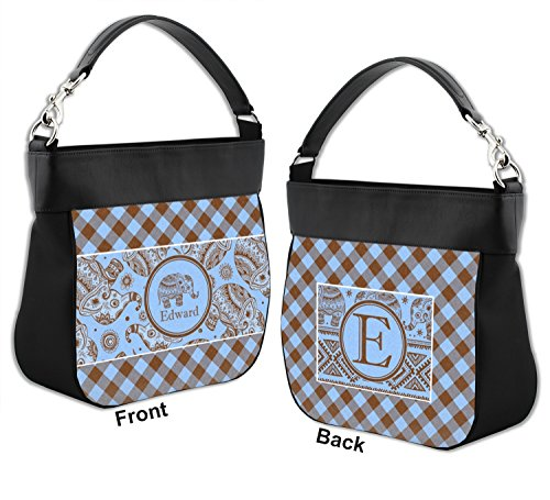 Purse Front w amp; Gingham Elephants Leather Back Personalized amp; Genuine Trim Hobo Owwt4q8