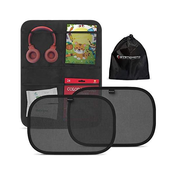 51LaArXpgkL Systemoto Autositz Organizer + Sonnenschutz Auto Baby mit UV Schutz (2er Set) - Kinder Rückenlehnentasche und…
