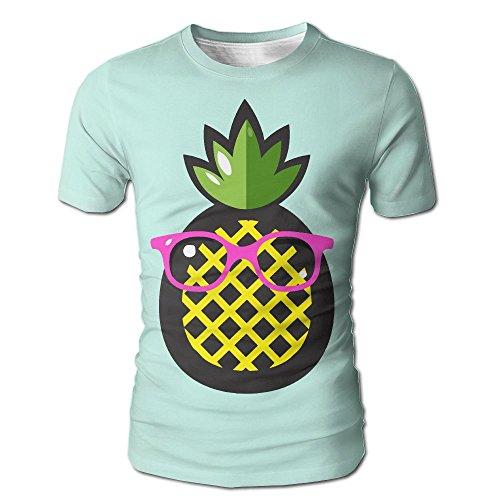 HenSLK Men's Summer Pineapple Green Leaves Pink Sunglasses Casual Novelty Crew Neck Short Sleeve Shirt - Einstein Sunglasses