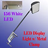 DSM TM 156 White LED Diplsay Light w/ Metal C-clamp for Trade Show Booth / Panel/ Presentation/ Display/ Tension Booth Podium and Display Panel w/ C Adapter Super Bright Tension Las Vegas UL Approved