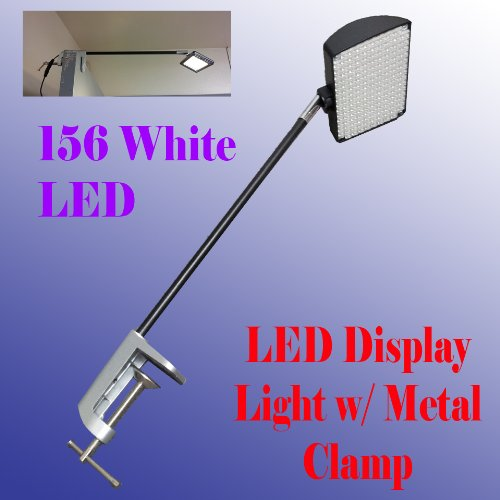 DSM TM 156 White LED Diplsay Light w/ Metal C-clamp for Trade Show Booth / Panel/ Presentation/ Display/ Tension Booth Podium and Display Panel w/ C Adapter Super Bright Tension Las Vegas UL Approved by Display Sign Mart