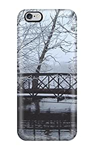 Hot New Bridge In Winter White Snow Ice Water River Black Nature Other Case Cover For Iphone 6 Plus With Perfect Design