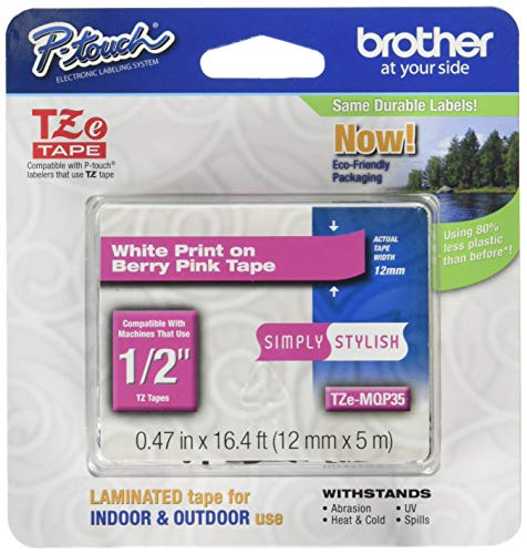 Brother Genuine P-touch Tze-MQP35 Label Tape 1/2 (0.47) Standard Laminated P-touch Tape, White on Berry Pink, Laminated for Indoor or Outdoor Use, Water Resistant, 16.4 Feet (5M), Single-Pack (TZeMQ
