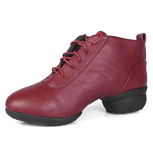 Shoes Dance and Men WZJ Modern Performance Sports Women's Red Dance Model sneakers XDW Ballroom Roymall Sneaker Leather Jazz Boost XfAwxfdn56