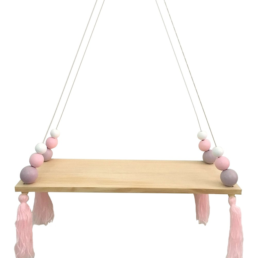 preliked Lovely Wall Rope Hanging Wooden Rack Bead Tassel Storage Shelf Home Kid's Room Decor by preliked (Image #1)
