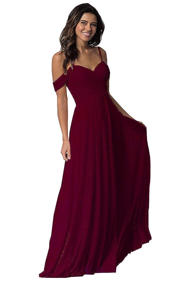 Ufashion Womens Chiffon Long Bridesmaid Dresses Off The Shoulder A Line Prom Dresses