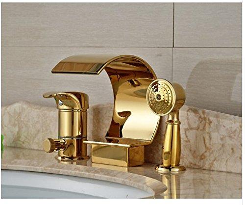 Gowe Luxury Heighten Bathroom Waterfall Basin Mixer Tap Golden Finish Deck Mounted With Hand ()