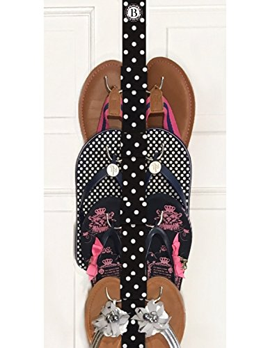 Boottique New Flip Flop and Sandal Hanger Holder Flip Flop Storage and Organization (Made in The USA) (Black & White Polka Dot) ()