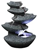 Modern Stone Tiers 14″ Fountain w/LED Light: Small Indoor/Outdoor Water Feature for Tabletops, Entryways, Gardens & Patios. Hand-Crafted Design. HF-B16-14LT Review