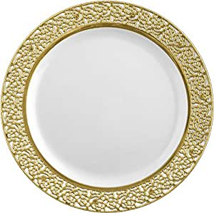Inspiration White with Gold Lace Rim 10.25 Heavyweight Plastic Dinner Plates 10 Count by Insipration