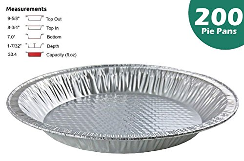 Handi-Foil 10 inch (Actual Top-Out 9-5/8 Inches - Top-In 8-3/4 Inches) Aluminum Foil Pie Pan - Disposable Baking Tin Plates (Pack of 200)