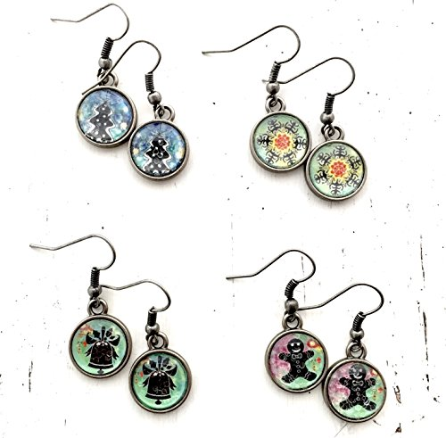 Glass Dome Christmas Earrings Cabochon Dangle Xmas Theme Collage Jewelry Listing price is for one pair (Group Theme Ideas)