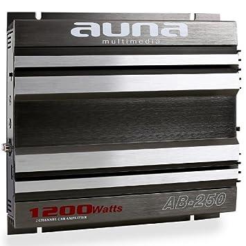 Auna AB-250 Amplificador coche de 2 canales (1200 W de potencia, material
