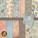 Duck Egg & Peach Vintage Rose Designer Paper Set Art Craft Scrapbook Journal Origami Paper Baby Girl Shower Wedding Party Decorations (21x21cm / 8x8 inches) (Pack of 25 Sheets)