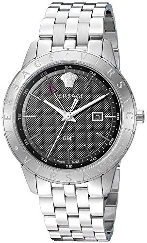 Versace Men's 'Business Slim' Quartz Stainless Steel Watch, Color:Silver-Toned (Model: VEBK00418)