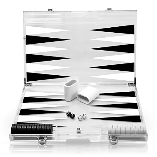 Rolling 66 18-Inch Lucite Deluxe Backgammon Set (Black) - Italian Backgammon
