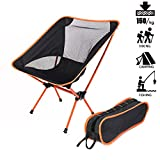 Portable Folding Chair, SMEAMUS Ultralight Foldable Chair with Storage Bag for Outdoor table, Camping, Lounge(Max Capcity: 150kg, Orange)
