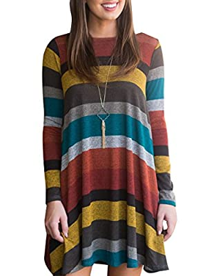 Miskely Women's Long Sleeve Striped Tunic Tops for Leggings Casual Swing Tunic Dress with Pockets Shirt