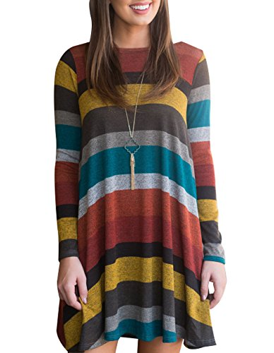 Miskely Women's Long Sleeve Striped Tunic Tops for Leggings Casual Swing Tunic Dress with Pockets Shirt (Large, Multicolor-01)