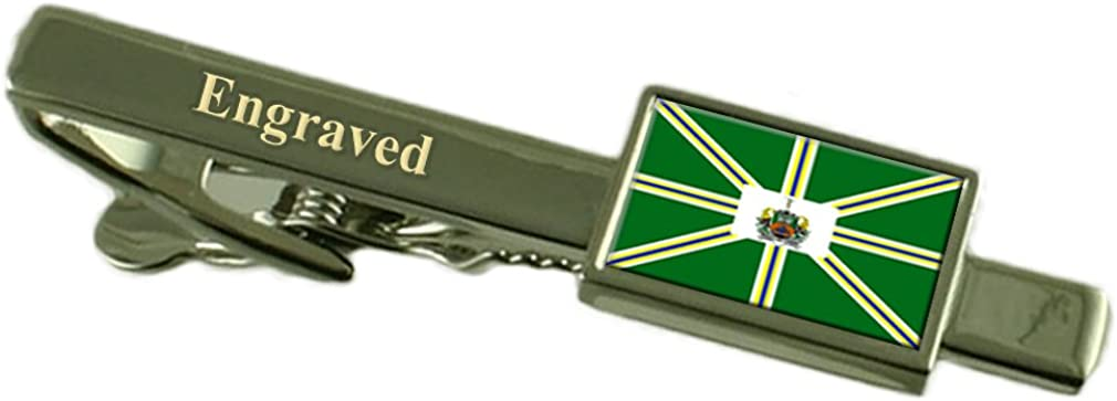 Pocos de Caldas City Minas Gerais State Flag Tie Clip Engraved in Pouch