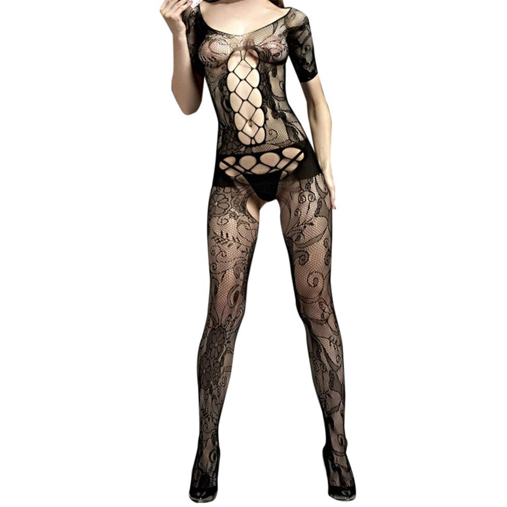 AxiBaWomen's Lace Lingerie Bra and Panty Set Halter Babydoll V Neck Bodysuit(,Black)