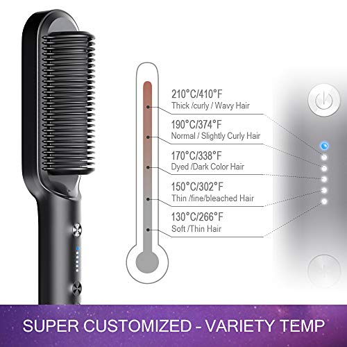 TYMO RING Hair Straightener Brush – Hair Straightening Iron with Built-in Comb, 20s Fast Heating & 5 Temp Settings & Anti-Scald, Perfect for Professional Salon at Home