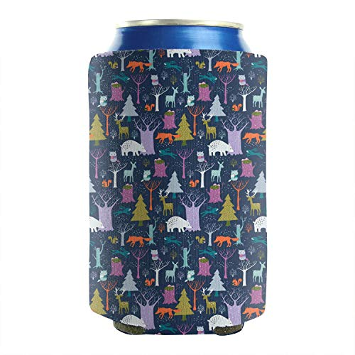 Woodland Beer,Deer,Trees,Forest 12-16 OZ Bottles Premium Neoprene Beer Can Sleeves Non-Slip Soft Drink Fully Stitched 2-Pack Fun