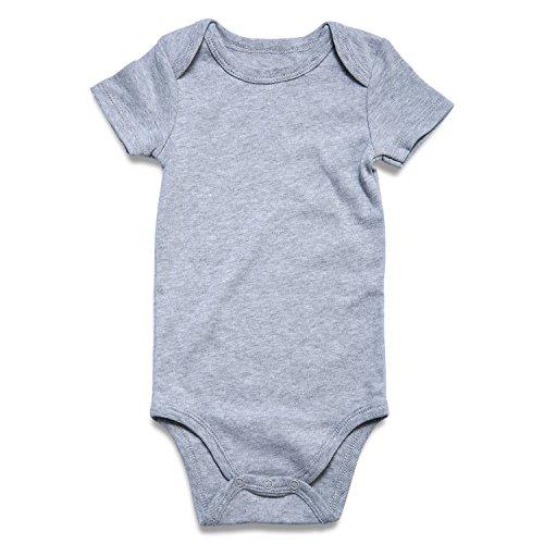ROMPERINBOX Unisex Solid Heather Baby Bodysuit 0-24 Months (0-3 Months, Grey) ()