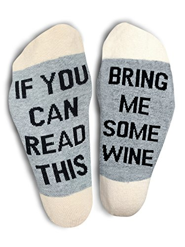 TheOnly Wine Gift Wine Socks - and Gift Box''If you can read this bring me some wine'' Perfect Christmas Gift for Wine Lovers, Birthdays, White Elephant, Mother Gift, Wife or Best Friend Wine Socks by The Only Gift Worth Giving (Image #5)
