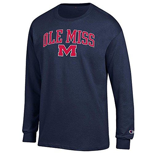 Elite Fan Shop Mississippi Ole Miss Rebels Long Sleeve Tshirt Varsity Navy - L