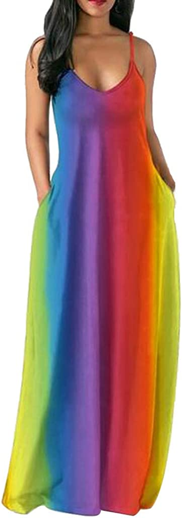 Women Rainbow Print Dress...