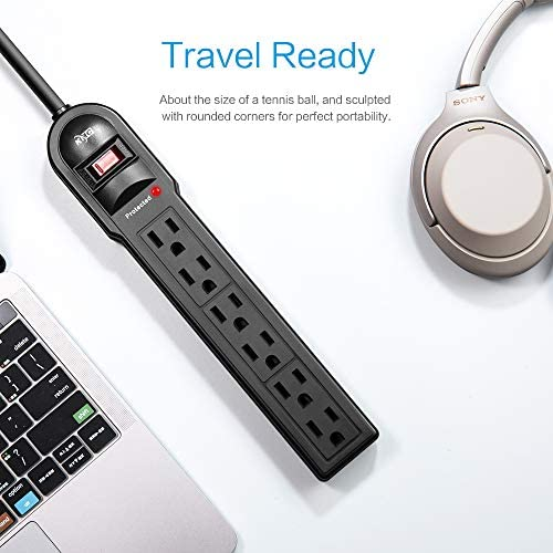 KMC 6-Outlet Surge Protector Power Strip 2-Pack, 900 Joule, 4-Foot Cord, Overload Protection, Black    Product Description