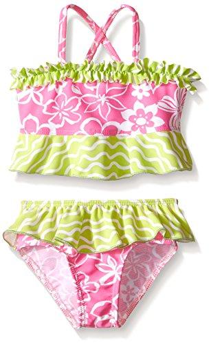 Flap Happy Baby UPF 50+ Hana Crossback 2-Piece Swimsuit , Hula Hibiscus, 12 - Bathing Suit Girl Bikini Hula