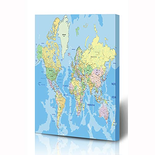(Ahawoso Canvas Prints Wall Art 16x24 Inches Pastel Blue Detail Highly Detailed Political World Map Globe Labeling Atlas Country Africa Geography Wooden Frame Printing Home Living Room Office Bedroom)