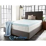 PuraSleep 2 Perfect Temp Gel Cooled Memory Foam Mattress Topper, Blue, Queen